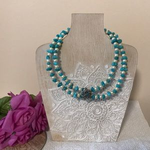 Jewelry - 3 for $25 turquoise and pearl flower necklace